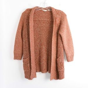 Lucky Brand open front knit cardigan rust cotton S